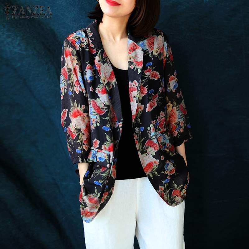 2020 ZANZEA Stylish Blazers Women's Printed Jackets Casual Long Sleeve Coats Female Single Button Outwear Female Floral Tunic