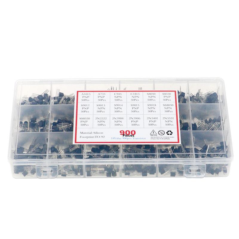 18Value 900pcs Bipolar Triode Transistor TO-92 A1015-2N5551 Box Kit