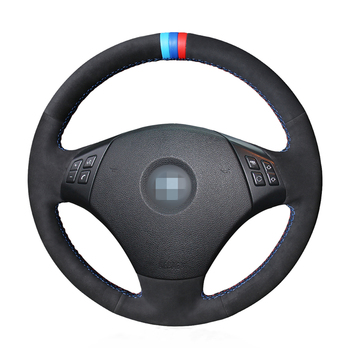 OLPAY Black Suede DIY Anti-slip Car Steering Wheel Cover for BMW E90 320 318i 320i 325i 330i 320d X1 328xi 2007