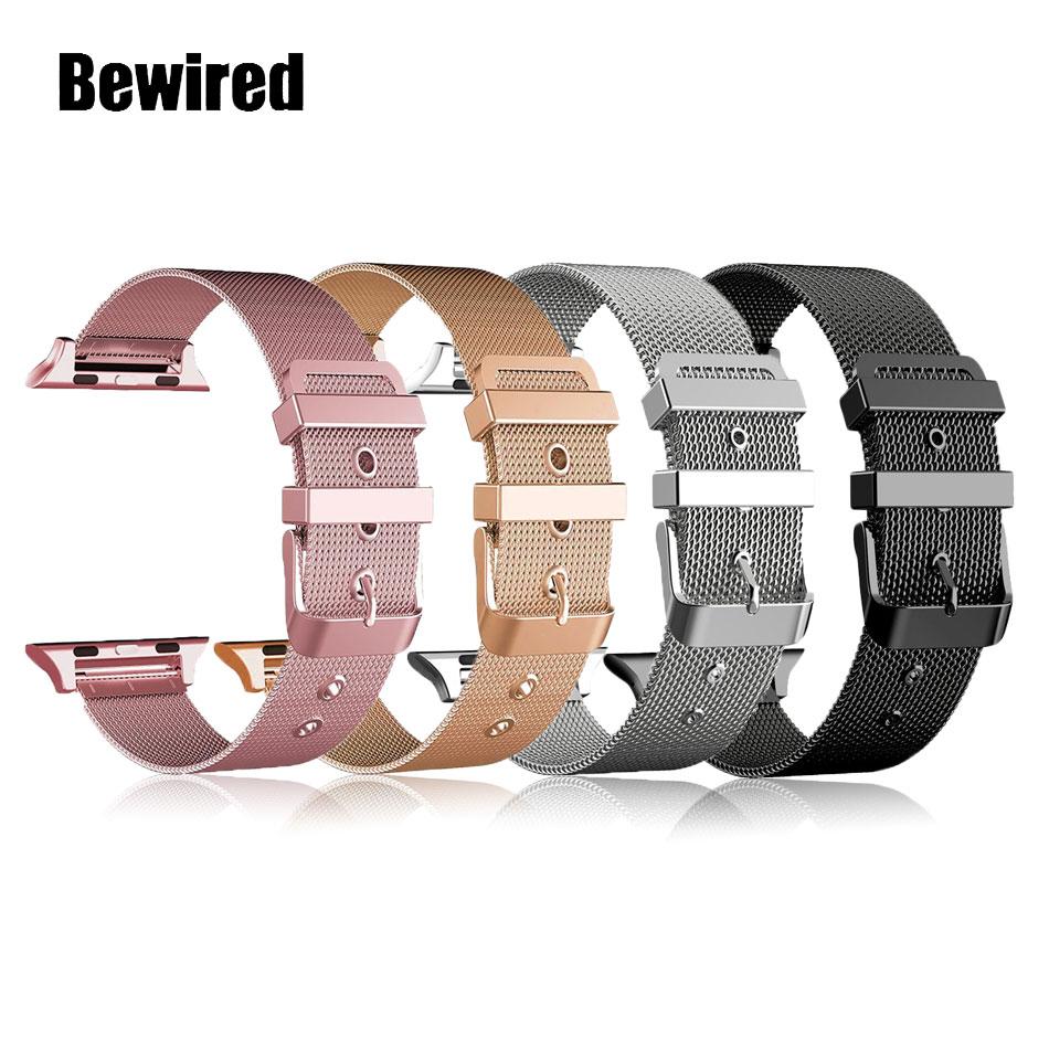 Banda de laço de aço inoxidável para apple watch band strap 38mm 42mm para iwatch se 6/5/4/3/2/1 40mm 44mm pulseira de pulso