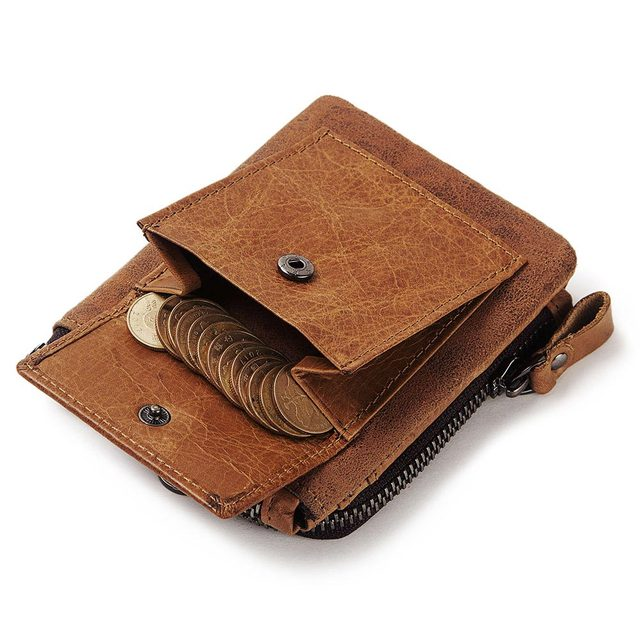 GZCZ Genuine Leather Men Wallet Fashion Coin Purse Card Holder Small Wallet Men Portomonee Male Clutch Zipper Clamp For Money 2