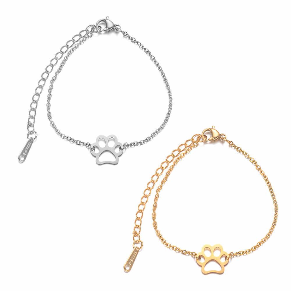 AAAAA Quality 100% Stainless Steel Dog Cat Pet Paw Bracelet for Women Female Fabulous Bracelet High Polish Charms Bracelets
