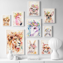 Flower Fox Lion Sloth Koala Panda Dog Nordic Posters And Prints Wall Art Canvas Painting Animals Pictures Kids Room Decor