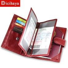 DICIHAYA, кошелек из натуральной кожи, Обложка для паспорта, для женщин, Rfid, держатель для паспорта, дизайнерский, для путешествий, чехол, кредитный держатель для карт, сумка для монет