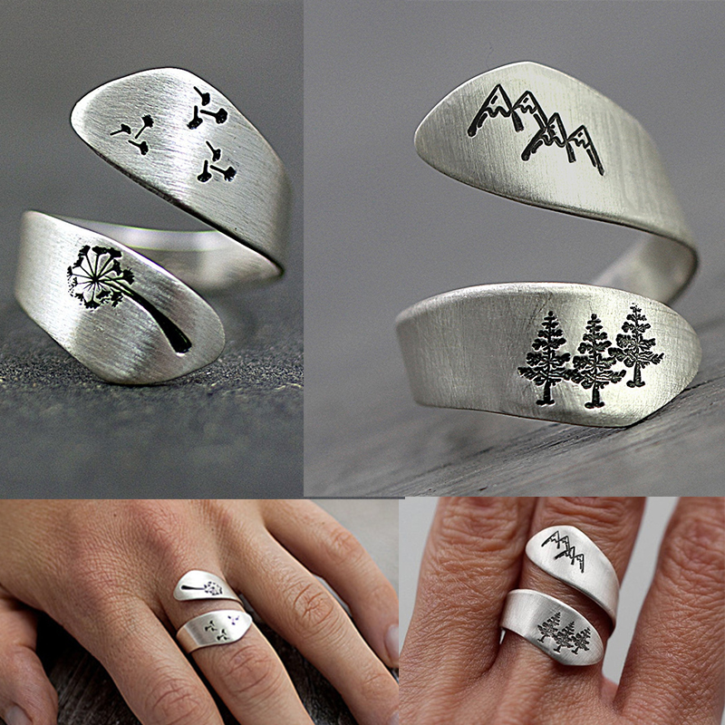 2019 Female Plated Silver Color Hand-brushed Winding Ring Mountain Forest Dandelion Ring For Women