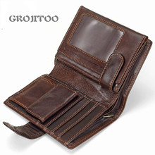 GROJITOO Men's short wallet genuine leather coin clip top layer cowhide vertical leather bag