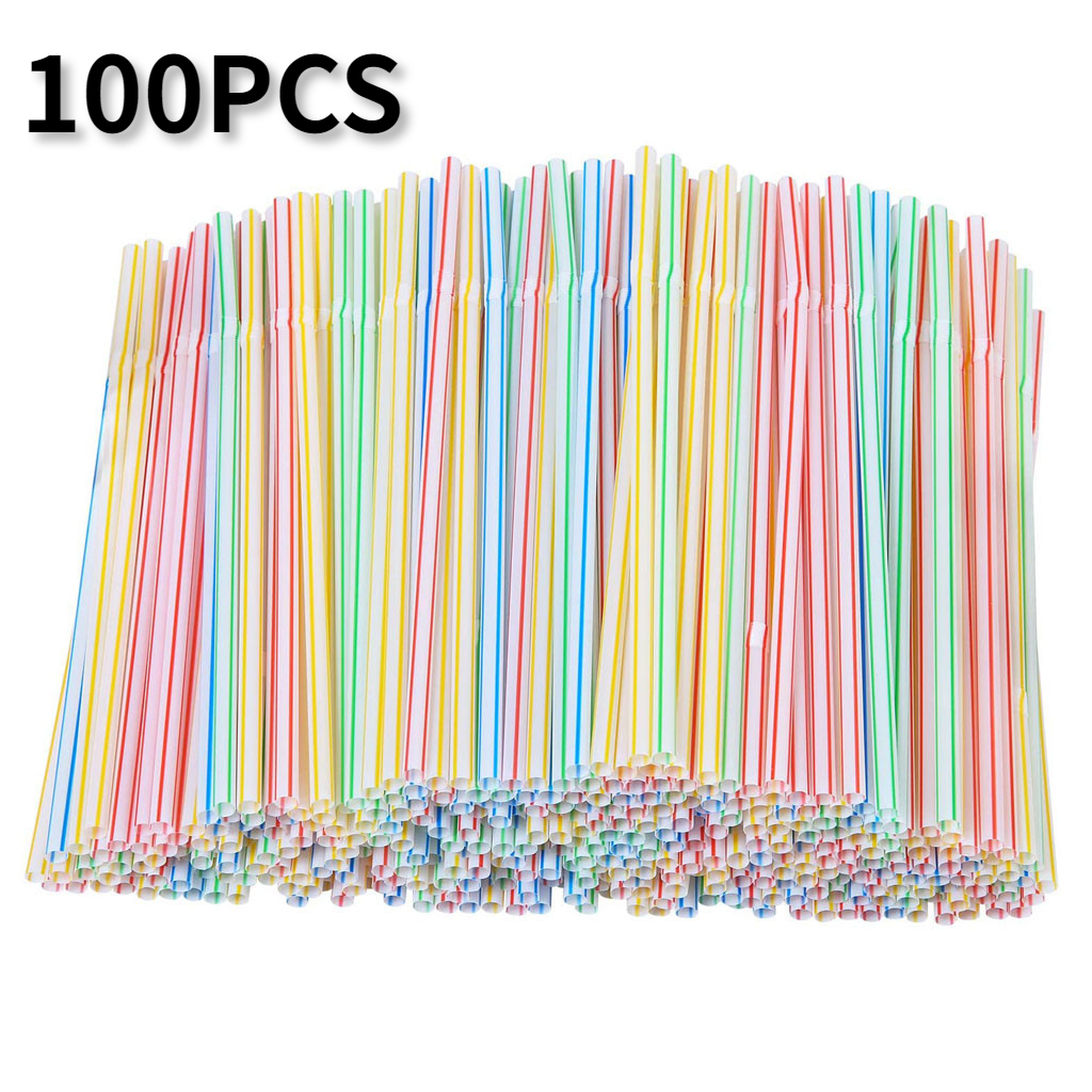 100pcs Plastic Drinking Straws 8 Inches Long Multi Colored Rainbow Straw Multi-Colored Striped Bedable Disposable Straws Party