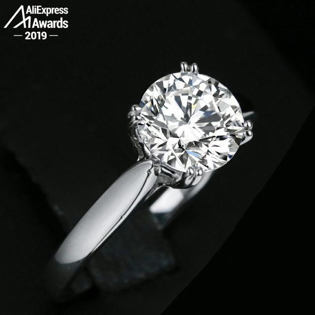 Sona D colour Fine Engraving Ring S925 Sterling silver Diamond Solitaire ring Marry me ring 925 round cut 4 claws