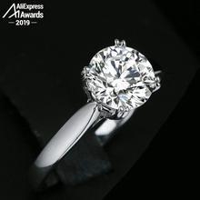 Sona pas faux Fine flèche griffes anneau de gravure S925 en argent Sterling diamant bague Solitaire conception originale 925 ronde coupe 4 griffes