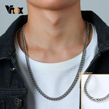 Vnox Einfache Edelstahl Kubanischen Kette Halsketten für Männer Schmuck Mode Hip Hop Männlichen Link Kragen Weihnachten Neue Jahr Geschenke
