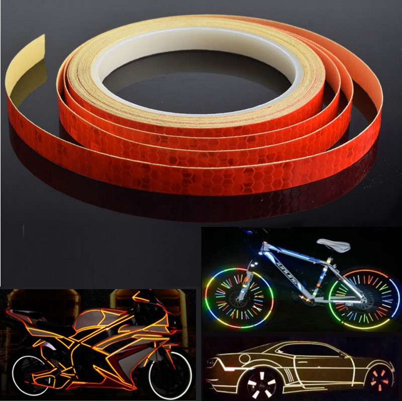 DIY 8M Reflective Tape Fluorescent Bike Bicycle Car Safety Reflective Stickers