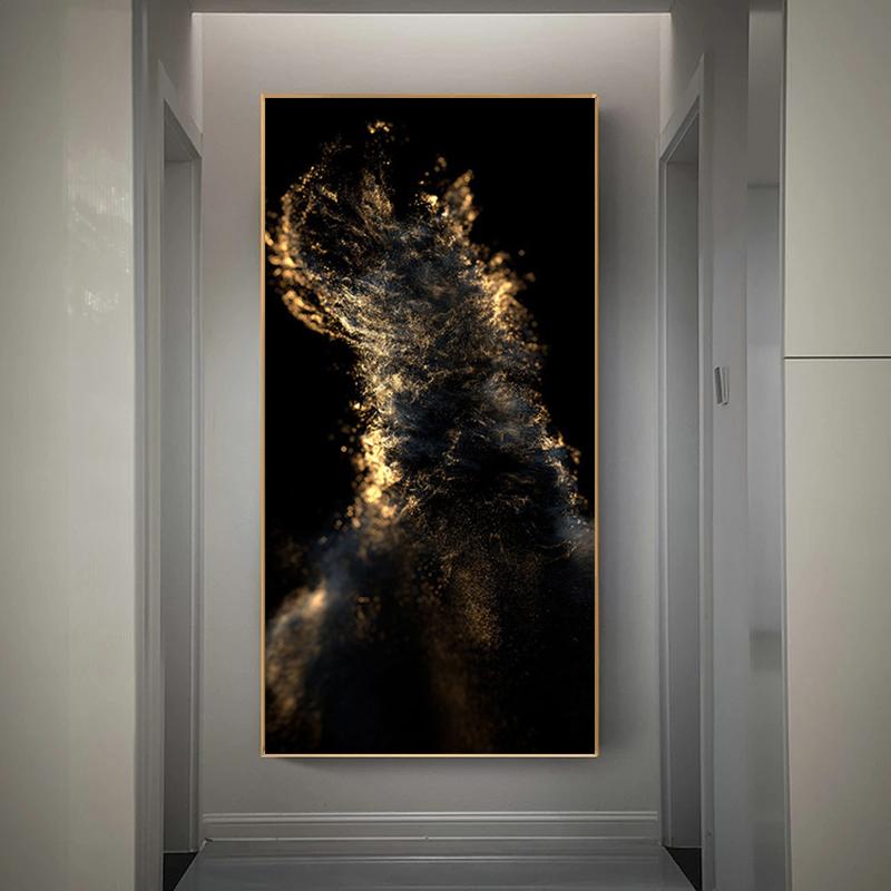 Абстрактное золото и картина на черном холсте Настенная для