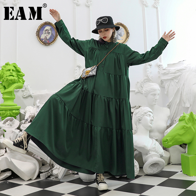 [EAM] Women Pleated Spliced Big Hem Button Dress New Stand Neck Long Sleeve Loose Fit Fashion Tide Spring Autumn 2020 1A423