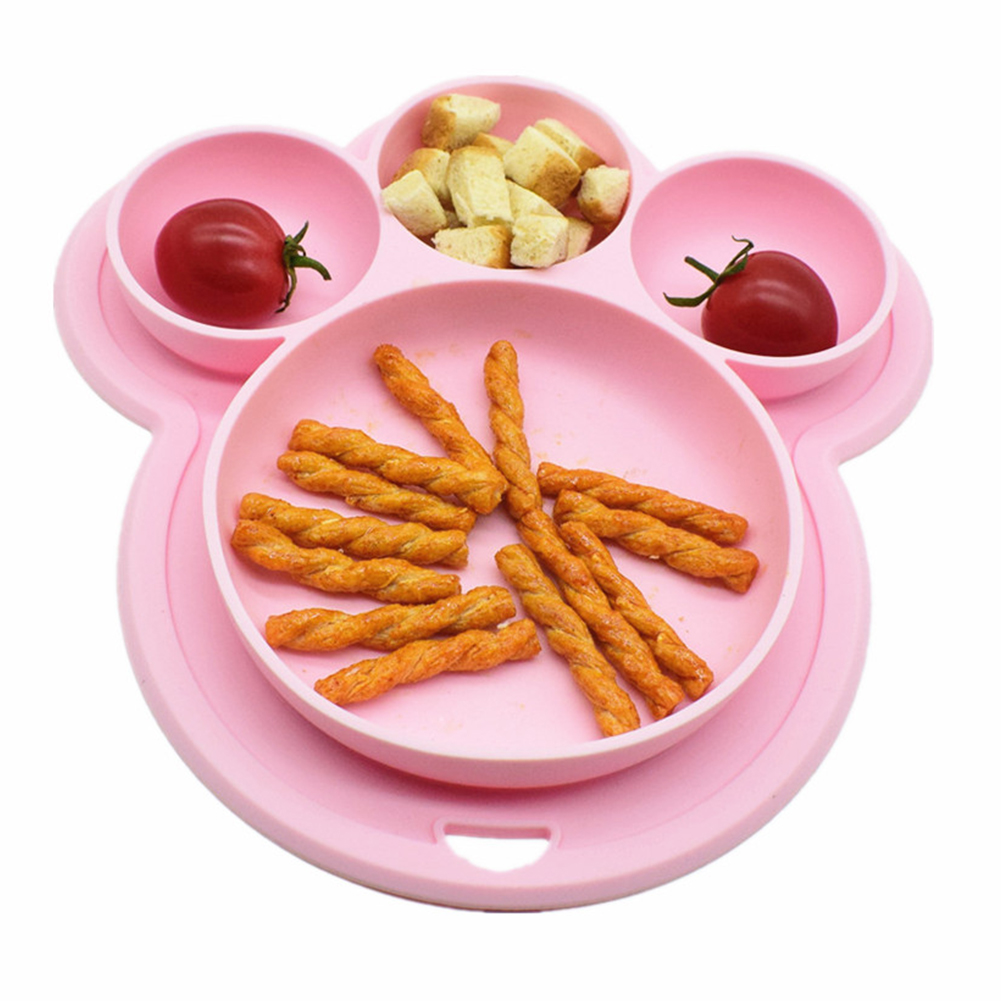 Bear Paw Shape Children Home Toddler Kids Cartoon Suction Tableware Food-grade Silicone Bowls Baby Plate Dinner Dish Feeding