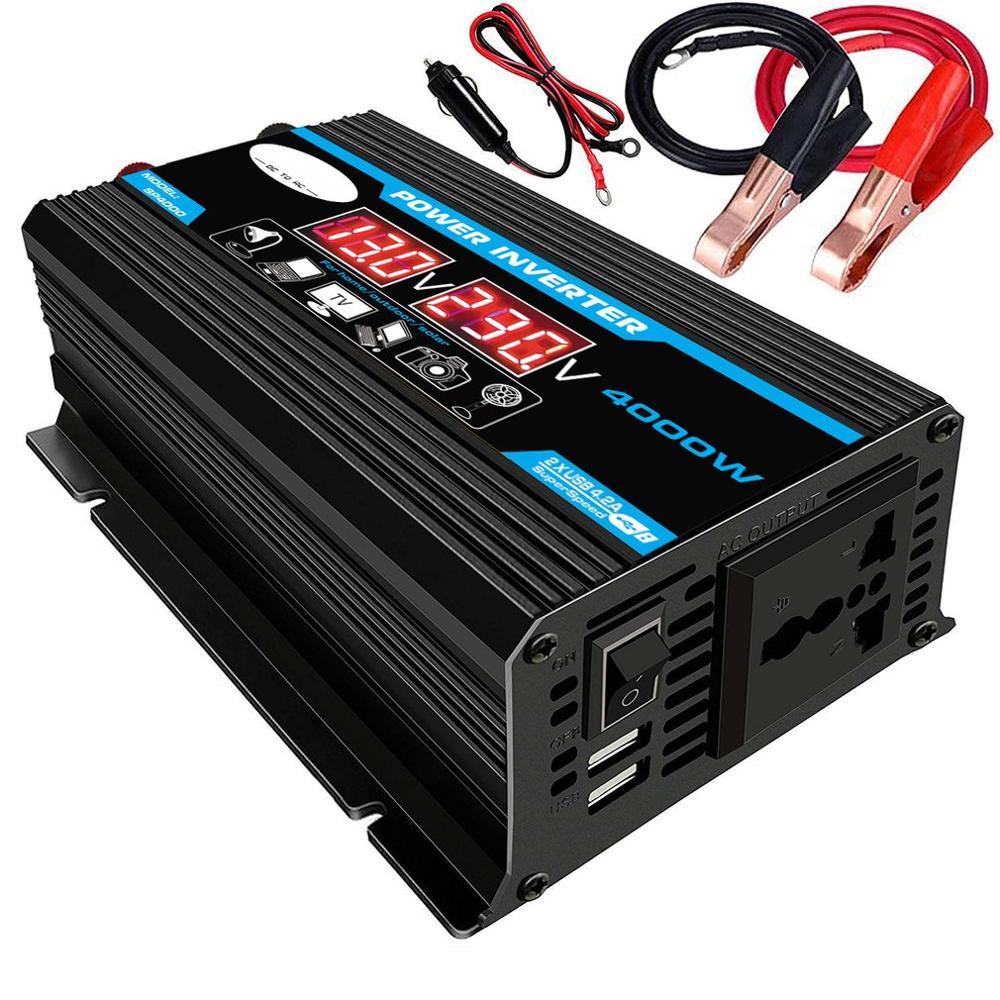 New 4000W 12V 220V/110V LED Ac Car Power Inverter Converter Charger Adapter Inversor Dual USB Transformer Modified Sine Wave