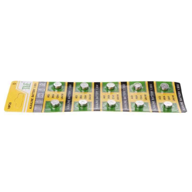 10 قطعة 10 قطعة عملة خلية البطارية القلوية AG3 1.55V بطاريات زر SR41 192 L736 384 SR41SW CX41 LR41 392 مصباح سلسلة إصبع ضوء