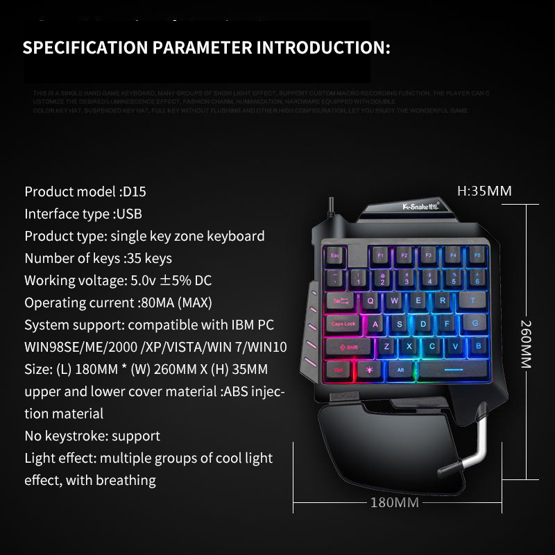 Image 5 - One Handed Mechanical Gaming Keyboard LED Backlight Portable Mini Gaming Keypad Game Controller For PC PS4 Xbox GamerKeyboards   -