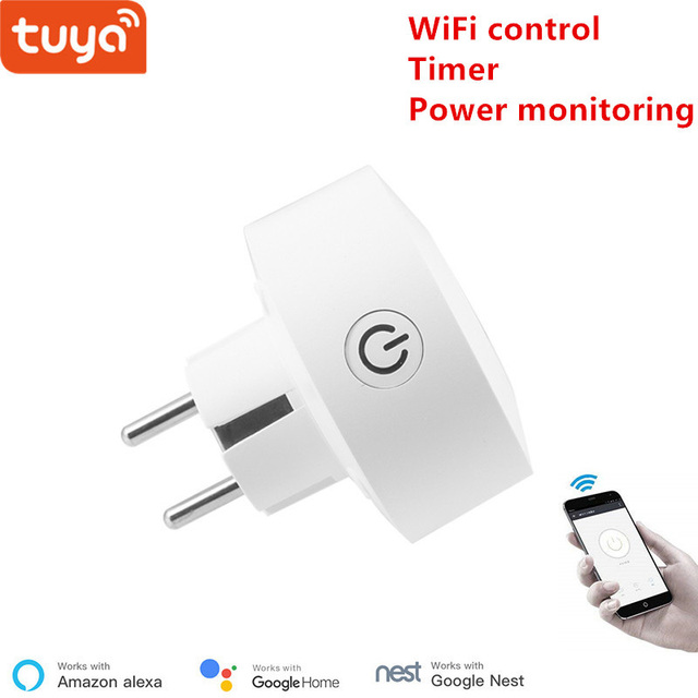 Tuya EU WiFi socket wireless plug smart home switch compatible with Google home ,and Alexa voice control