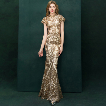 Gold Long Prom Dresses Mermaid Sequins Sleeveless Sexy Slim Fashion Formal Women Evening Gown Dress Robe De Soiree Vestidos