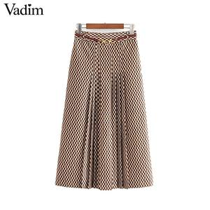 Image 1 - Vadim נשים שיק הדפסת midi חצאית חגורת עיצוב חזרה רוכסן משרד ללבוש נשי מזדמן אופנה בסיסית אמצע עגל חצאית BA840