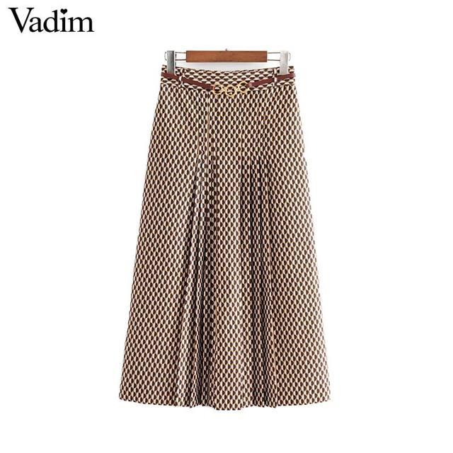 Vadim נשים שיק הדפסת midi חצאית חגורת עיצוב חזרה רוכסן משרד ללבוש נשי מזדמן אופנה בסיסית אמצע עגל חצאית BA840