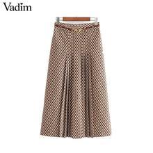 Vadim mujer elegante impresión midi falda cinturón diseño cremallera trasera Oficina Ropa Femenina casual moda básica media pantorrilla falda BA840