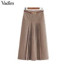 Vadim women chic print midi skirt belt design back zipper office wear female casual fashion basic mid calf skirt BA840
