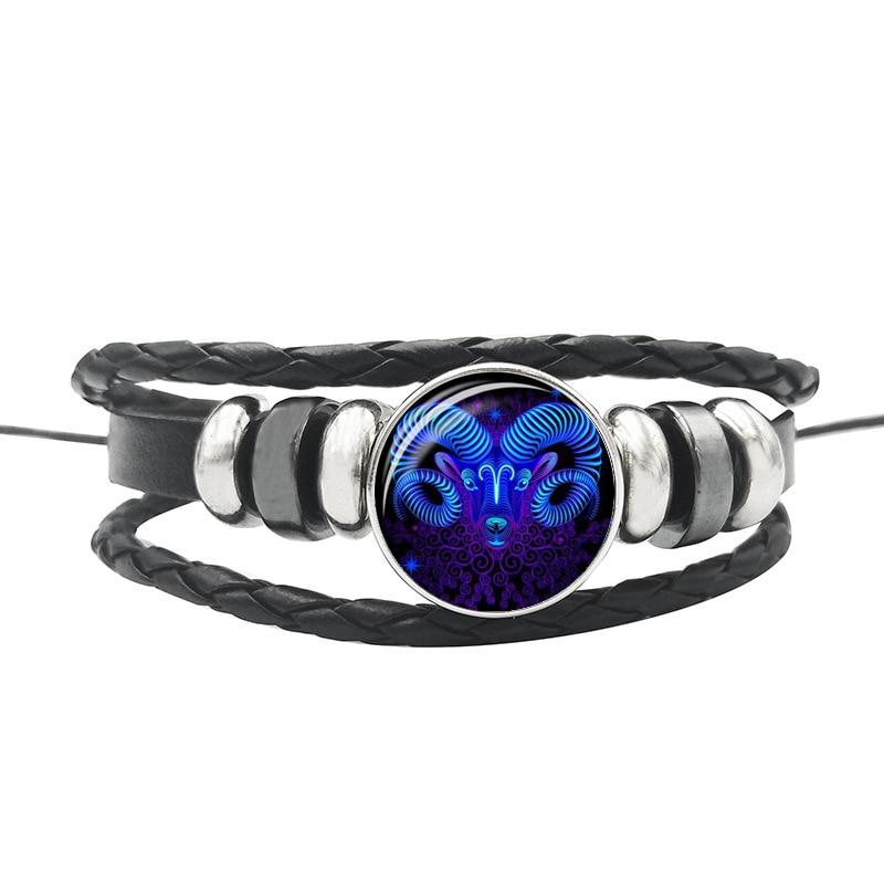 12 Constellation Zodiac Sign Black Buckle Leather Bracelet Cancer Leo Libra Woven Glass Dome Jewelry Punk Men Women Bracelet
