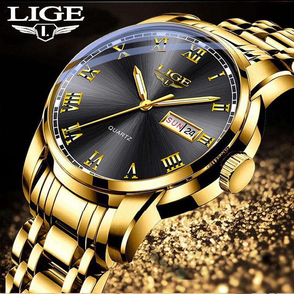 2020 Watches Mens Top Brand Luxury Fashion Quartz Gold Clock LIGE All Steel Men Wristwatch Waterproof Date Week Dial Watch+Box