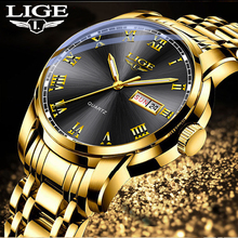 2020 Watches Mens Top Brand Luxury Fashion Quartz Gold Clock LIGE All Steel Men