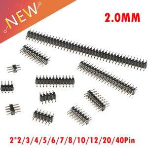 10 sztuk/partia boisko 2.0mm 2.0 podwójne rząd mężczyzna 2-40Pin Breakaway PCB Board Pin Header złącze taśmy 2*2 /3/4/5/6/7/8/10/12/20/40Pin