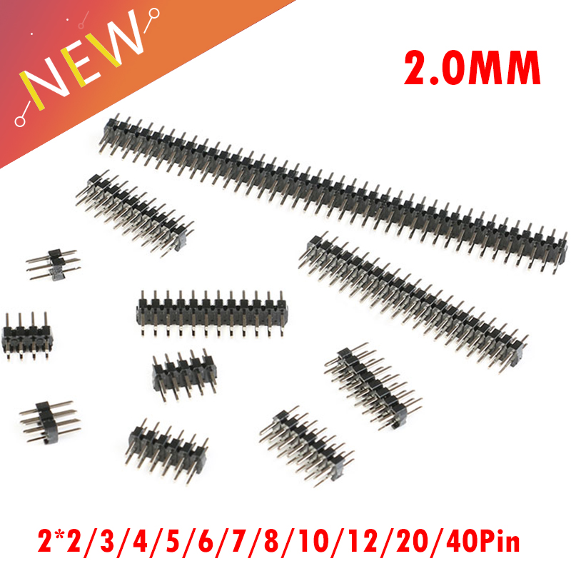 10Pcs/lot Pitch 2.0mm 2.0 Double Row Male 2-40Pin  Breakaway PCB Board Pin Header Connector Strip 2*2/3/4/5/6/7/8/10/12/20/40Pin