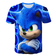 T-Shirt Tops Hedgehog Sonic Teenager Girls Kids Boys Children Cartoon Printed for 3D