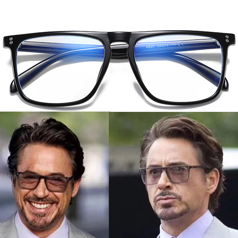 IVSTA Tony Stark Anti Blue Light Computer Glasses Men Big Retro Square Frame Blue Light Blocking Gaming Glasses Steampunk Goggle