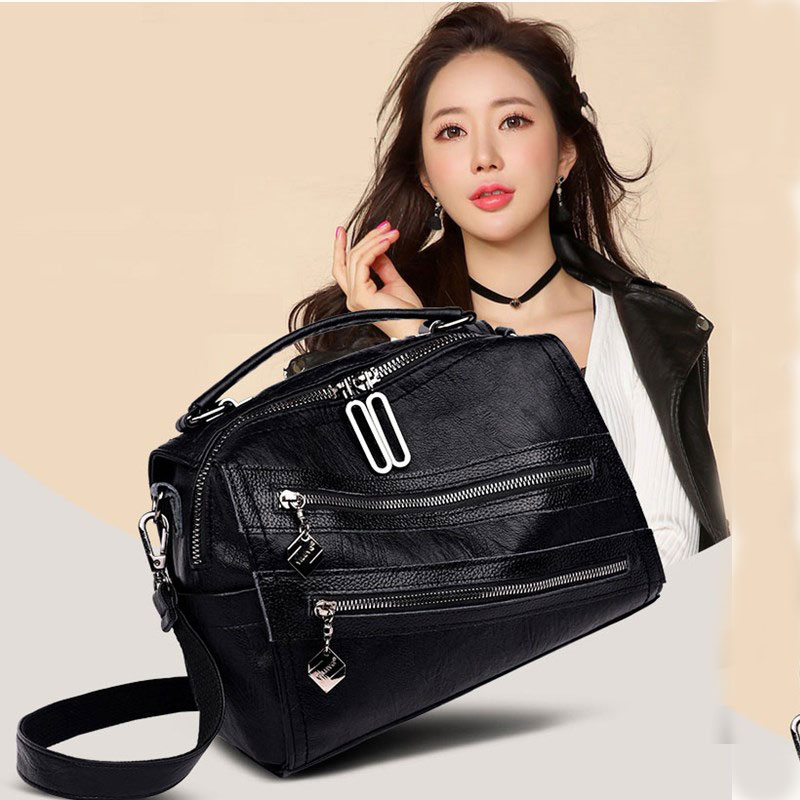 Bolsa feminina de couro genuíno 2019 grande bolsa preta para mulher pommax H19-004 bolsa de ombro feminina