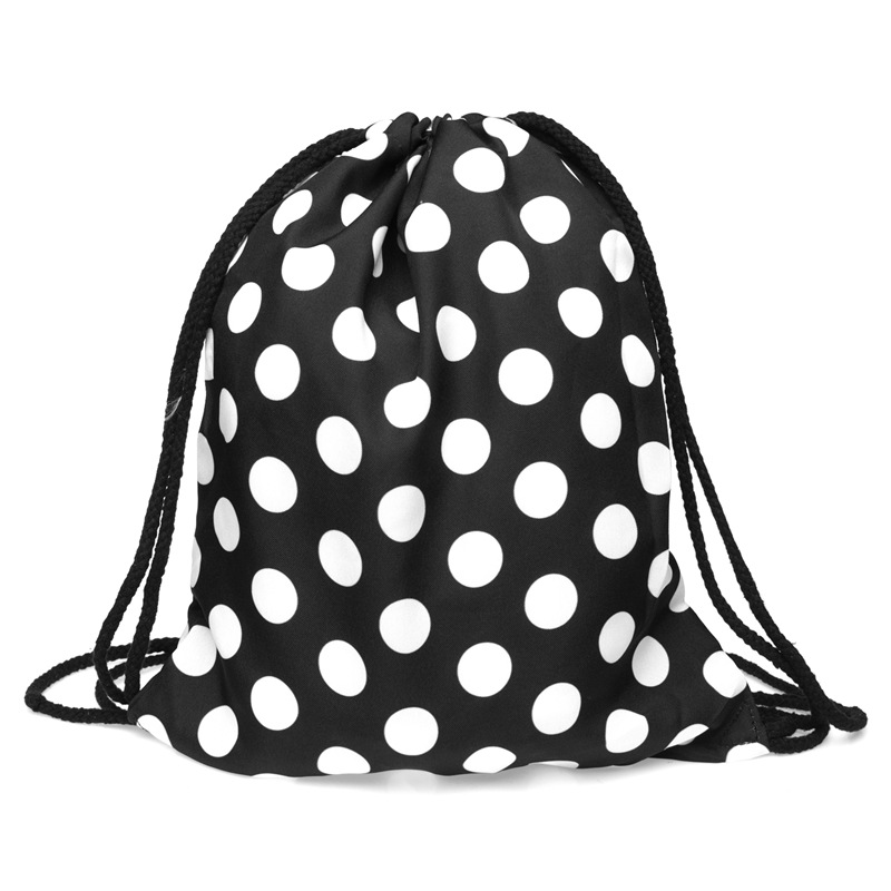 Dot Print Drawstring Bag Women Travel Bag Teenager Girl Cartoon Backpack Fashion Storage Bags