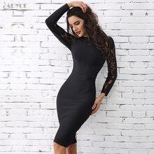 Adyce 2020 vestido bandage de renda para inverno, elegante, feminino, preto, floral, manga comprida, vazado, roupa de balada, sexy, midi, celebridade, vestido de festa