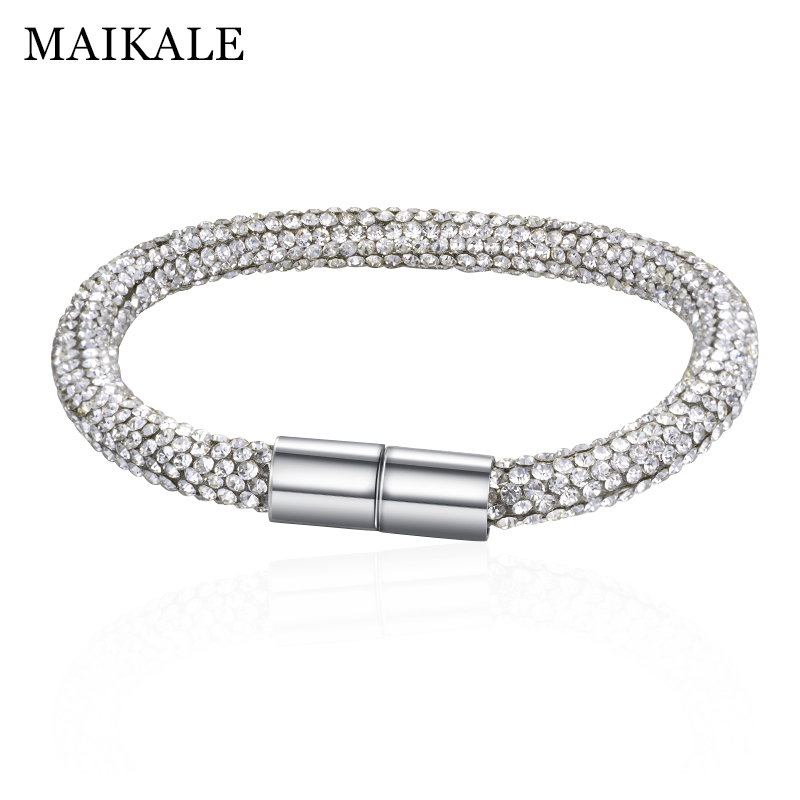 MAIKALE High Quality Bracelets for Women Austrian Crystal Silver Magnet Buckle Fashion Jewelry Shiny  Rhinestone For Women Gift