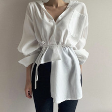 Long Sleeve Women Shirts White 2020 Korean Designer Fashion High Waist Belted Chic Blouse Asymmetrical Causal Female Tops