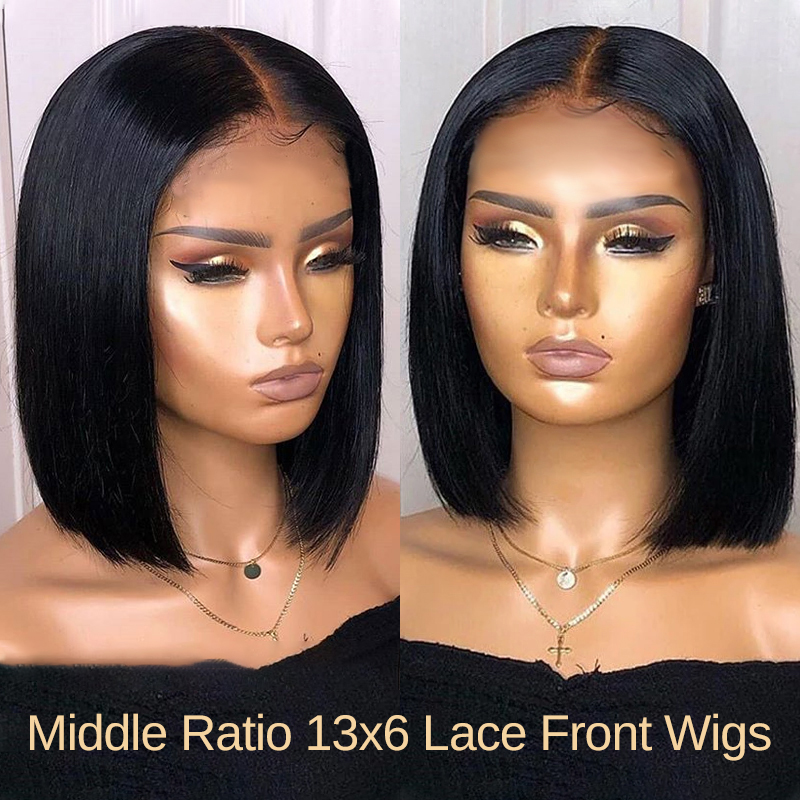 Hot Beauty Hair Glueless 13*6 Lace Front Wig Human Hair Wigs Pre Plucked For Black Women Straight Bob Lace Wigs Middle Ratio