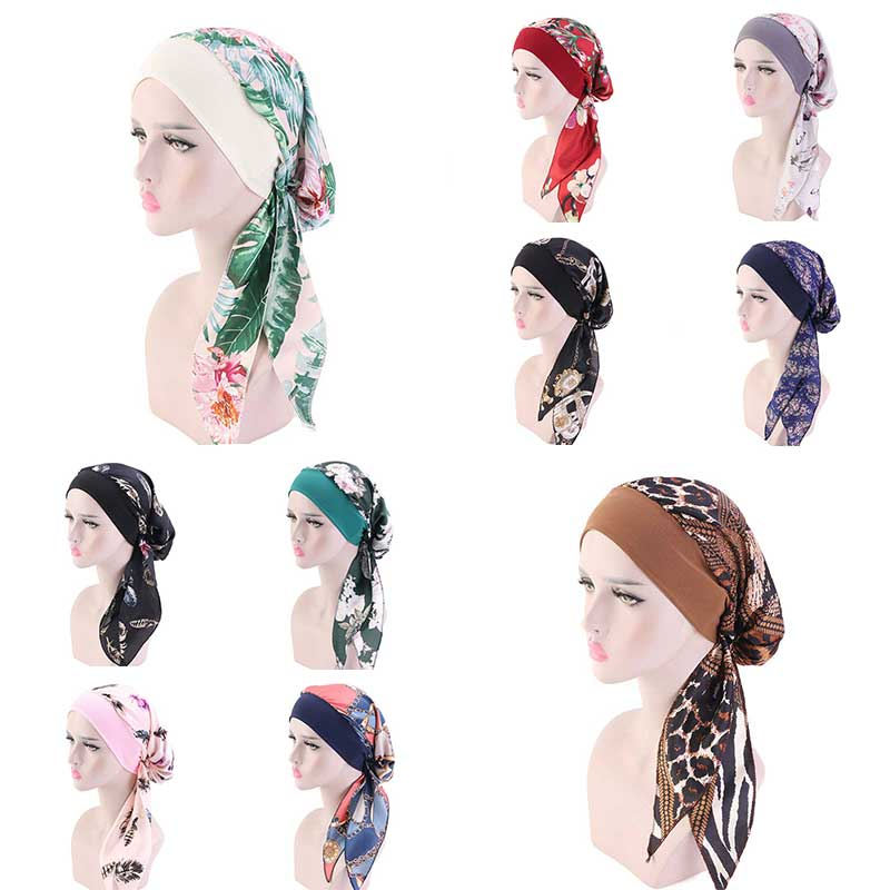 Muslim Hijab Turban Hat Headscarf Pre-Tied Long Tail Chemo Cap Stretch Bandana