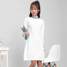 DMLFZMY Women's knit dress autumn 2019 new Korean casual was thin half-high collar long-sleeved a-line skirt(China)