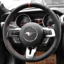 Funda de cuero para volante de Ford Mustang, protector de cuero de ante negro para volante de coche, puntada roja, compatible con Ford Mustang 2015-2019 / Mustang GT 2015-2019