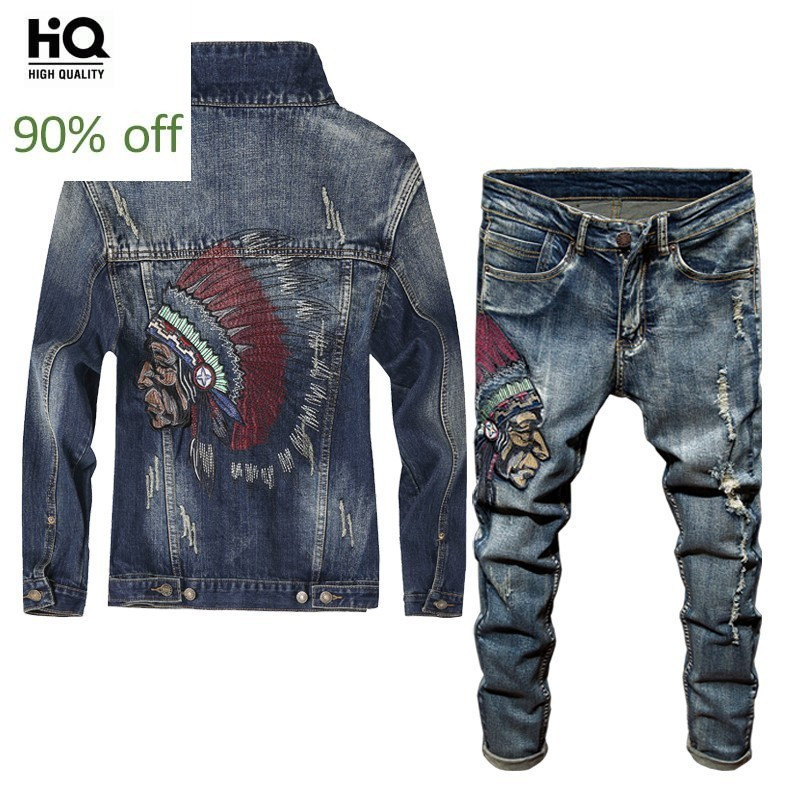 Spring 2020 Newest Fashion Men's Sets Vintage Embroidery Punk Style Long Sleeve Campera Hombre Hole Ripped Denim Pants Man Suit