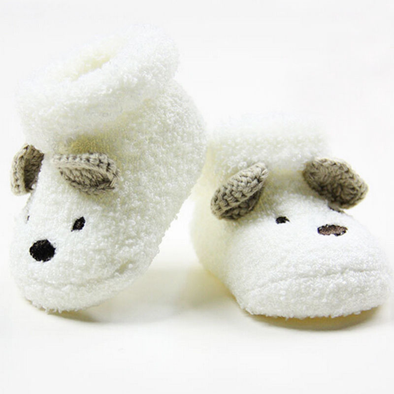 Fashion Warm Newborn Socks Shoes Baby Boys Girls Infant Cute Bear Pattern Soft Plush Crib Shoes Fit For 0-12M