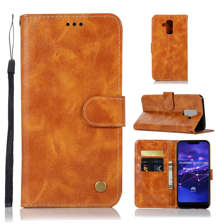 10 pcs/lot combiné rétro Flip portefeuille etui de téléphone en cuir synthétique polyuréthane couverture pour Huawei Maimang6 Maimang7 P Smart + Plus 2019 GR3 GR5 2017