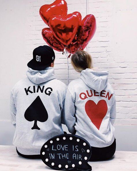 Women Men Poker King Queen Print Spring Hoodies Sweatshirts Women Men Girlfriend Boyfriend Matching Lovers Hooded Hoodies