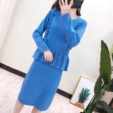 Sweater Women pullover Suits Fashion Shoulder Off Sleeve Knitting Sweater And Skirt Two Piece Women Set Office Lady Suit Female(China)