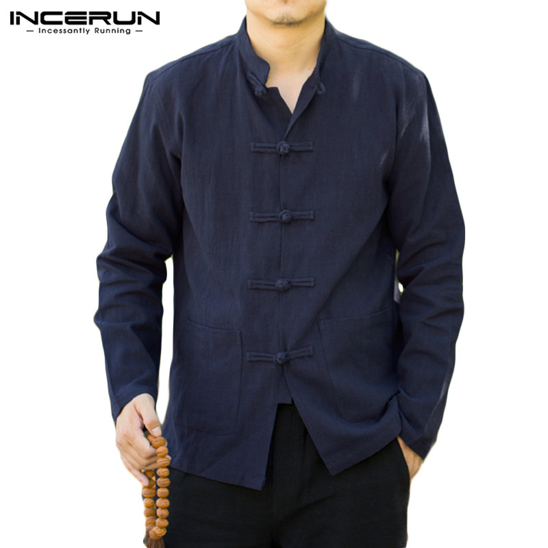 INCERUN Vintage Chinese Shirt Men Solid Color Casual Button Up Cotton Stand Collar Streetwear Autumn Shirts Long Sleeve Men Tops