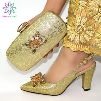 New Arrival jasne złoto włoskie buty i torby zestawy afryki gorąca sprzedaż buty i torby zestawy na imprezę we włoszech buty kobiet tanie i dobre opinie Venus Chan Pantofle Szpilki CN (pochodzenie) Futro Super Wysokiej (8cm-up) Dobrze pasuje do rozmiaru wybierz swój normalny rozmiar